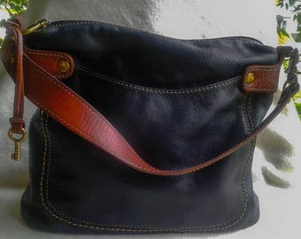 Fossil Black Leather Large Shoulder Bag with Brown Leather Trim and Handle FREE SHIPPING!!