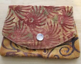 Wallet with three pockets made of brown and tan batik fabric