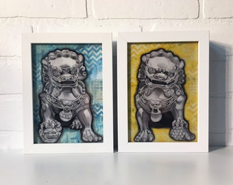 "Fu Dog Set, 5""x7"" Art Print, Wall Decor, Framed, Feng Shui, Zen, Guardian, Mythical, Chinese, Oriental"