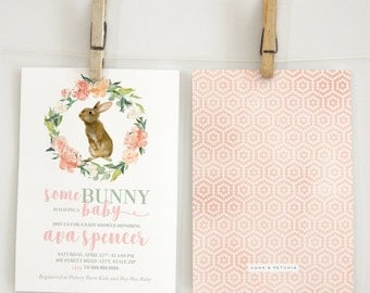 Watercolor Bunny Rabbit Baby Shower Invitation, Spring Baby, Easter Baby, Floral Invite, Envelope Liner