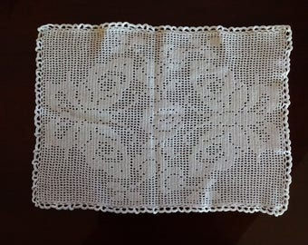 Vintage Hand Crocheted White Butterfly Doily