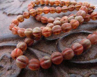 Matte Rusty Brown Picasso Glass 6mm Melon Round Beads Czech Ribbed Pressed Glass - 25