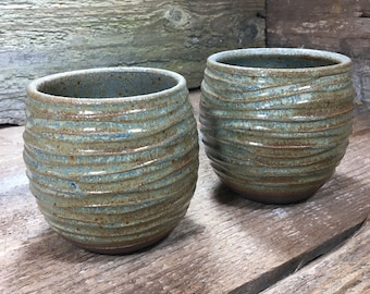 Set of TWO Stemless Wine Glasses in Ivory on Stoneware