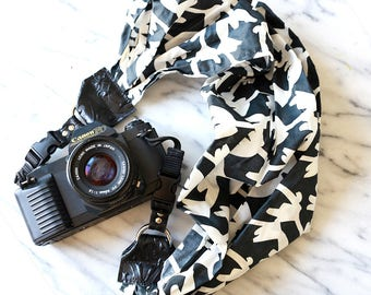The 'Windy' Black & White Scarf Camera Strap with Quick Release Buckles -- 1.5- 2 inches wide