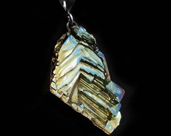 Bismuth Necklace - Bismuth Geode - Sterling and Bismuth Jewelry by Element83 - Iridescent Crystal Necklace Jewelry