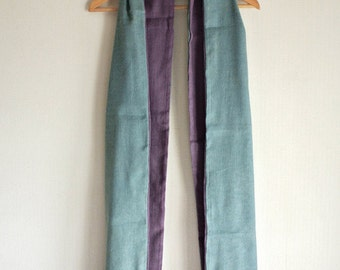 Natural Indigo and Cochineal dyed Wool Linen scarf - a warm gift for someone special