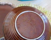 Hull Brown Drip Pottery dinner plates good with no chips but do show utentils marks. Cottage chic  China Galore