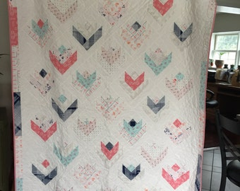 Twin Size Modern Patchwork Quilt Grey Pink white blue hearts flowers