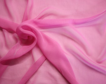"Bubble Gum Pink Silk Chiffon Fabric 43/45"" Wide Per Yard"