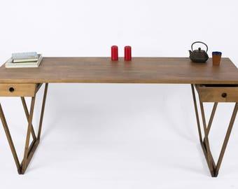 Beech Double-V Desk, Two-Drawer V Desk, Wild European Beech Desk, Large Desk, Modern Desk, Handmade Beech Desk, Ebony-Stained Beech Desk