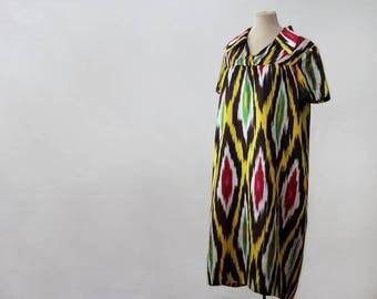 silk ikat dress, Uzbekistan dress, Central Asia costume, ethnic dress Uzbek, silk dress, lounge dress, yellow green black chevron silk