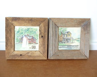 General Store and Train Station original ink and watercolor paintings of with reclaimed wood frames, signed Donna Cole,