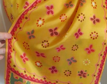 """Scarf Beautiful Orange Colorful  Acetate Scarf 11"""" x 40"""" Long - Affordable Scarves!!!"""