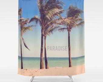 Nautical Shower Curtain - Paradise - Beach - Palm Trees - Coastal - Bathroom - Home Decor - 71x74
