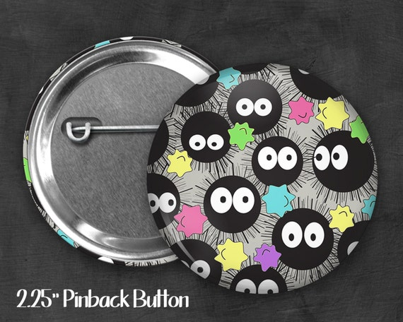 "2.25"" Soot Sprite Pinback Button, Geek Button, Geekery, Button, Kawaii Button, Badges, Flare, Fanart, Fandom"