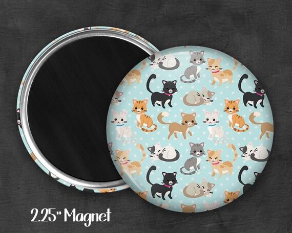 """2.25"""" Cat Magnet, Geek Magnet, Geekery, Magnet Button,  Kawaii Magnet, Refridgerator Magnet, Kawaii, Fairy Kei, Pastel Goth"""