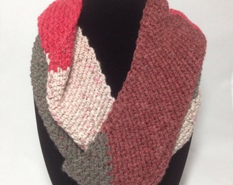 Beige, Maroon, and Grey Infinity Scarf