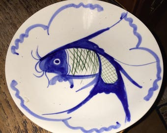 KOI 錦鯉 GOLDFISH Blue & White Fish Porcelain Plate or Bowl Platter Asian Japanese?