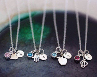 Charm Necklace - Birthstone Necklace -  Initial Necklace  - Sterling Silver - Custom Charms - Birthstone Jewelry - Initial Necklace - Charms
