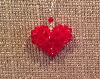 Red Swarovski crystal heart on sterling silver chain