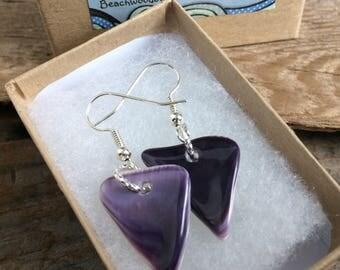 Wampum Earrings, Native American Jewelry, Genuine Handpicked Natural Wampum Jewelry, handmade Wampum shell earrings