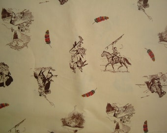 Vintage 1970s Cowboys & Indians Printed Fabric Pcs-Crafts or Quilts