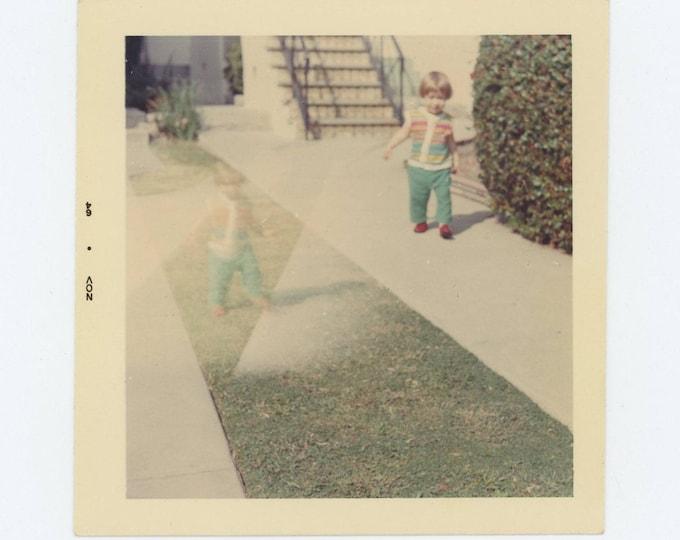 Double Exposure: Girl on Path, 1964 Vintage Snapshot Photo (73558)
