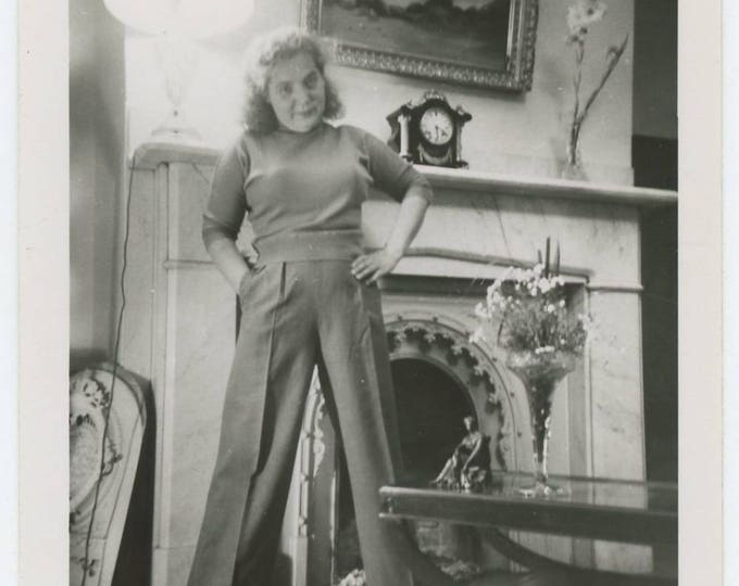 Vintage Snapshot Photo: Woman in Trousers, c1940s-50s (75574)