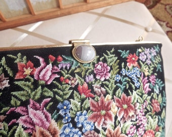 Vintage 40s Petit Point Purse in Black Floral with Lace Agate Clasp Evening Bag