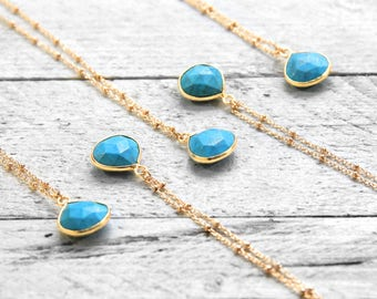 TURQUOISE PURE necklace with turquoise | gold