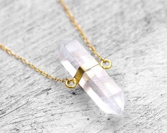 CLEARPOINT SURA necklace with stick of rock crystal | gold