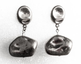 Silver Nugget Drop Earrings    Vintage Post      Silver Tone