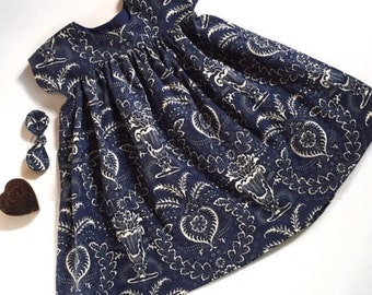 Navy and Ivory Girls Dress Made to Order in Sizes 12 months through 5T