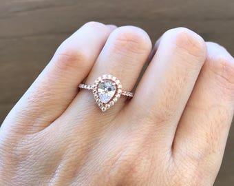 Rose Gold Engagement Ring- Pear Shape Promise Ring- Classic Halo Engagement Ring- 1 ct Diamond Simulant Ring- Elegant Bridal Wedding Ring