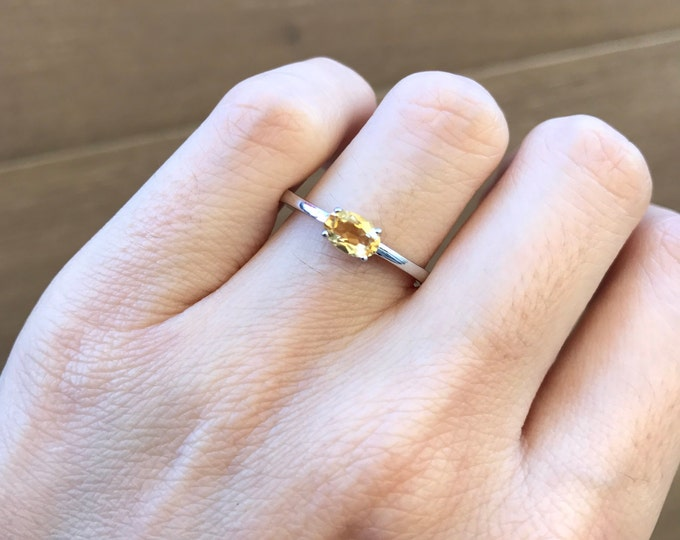 Stackable Oval Citrine Ring- November Birthstone Ring- Small Yellow Topaz Ring- Sterling Silver Stacking Ring- Yellow Gemstone Prong Ring