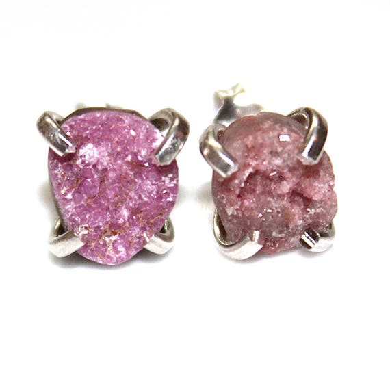 Natural Cobalto Calcite Druzy Earring Pink Druzy Earring Drusy Earring Druzy Jewelry Sparkly Pink Earring Drussy Earring Crystal Earring