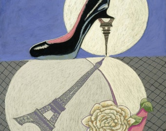 "Fine Art Giclee Print, Paris, Stiletto, Eiffel Tower, Rose, Black High Heel, Painting By Jan Maitland, Still Life, Blue, Black, Pink, 8""X10"""