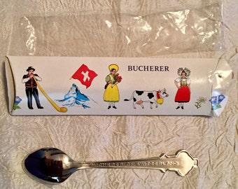 """Vintage """"Bucherer of Switzerland"""" ROLEX Lugano Collectible Souvenir Spoon from Switzerland in Original Box"""