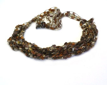 Copper & Brown Glitter Ladder Yarn Necklace - Crocheted Ribbon Necklace, Handmade Fiber Necklace, Vegan Necklace