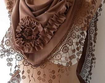 Brown Rose Scarf Christmas Gift Holiday Gift Scarf with Lace Edge Winter Women Fashion Accessories Christmas Gift For Her
