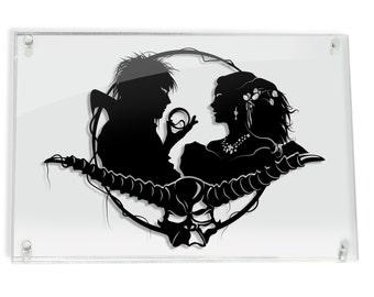 Jareth Goblin King & Sarah Labyrinth silhouette hand cut paper craft // handmade framed wall artwork geek art