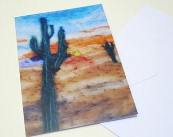 desert card, needle felted card, print of needle felting, eco card,