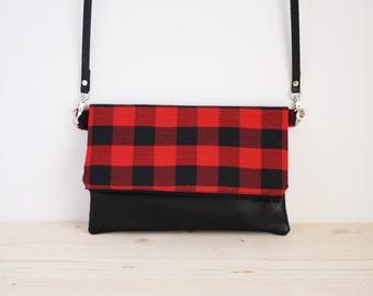 Red checkered bag, red checkered clutch, handbag, tartan, shoulder bag - Kenickle