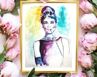 Audrey Hepburn Watercolor Art, Original Artwork, Original Watercolor Painting, Breakfast at Tiffanys, Audrey Hepburn Wall Art