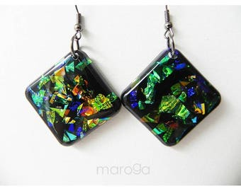 Dichroic earrings, Bio-resin Jewellery