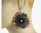 Gift For Mom Black Lace Large Dangle Versatile Earrings Beaded Jewelry Colorful Beads Round Circle Ethnic Style Boho Hippie Fashion Crochet