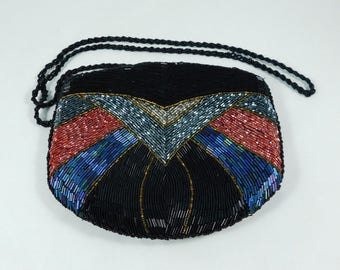 Beaded Purse, Black with Rose and Silver Glass Bugle Beads and Amber Beads , Winged Design, Shoulder Strap, Zippered