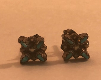 SALE Vtg New Old Stock Sterling Zuni Needlepoint Turquoise Earrings