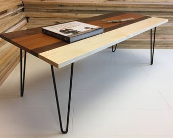 QUICK SHIP-Mid century modern coffee table, tri-color hardwood blend with steel hairpin legs.