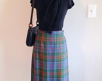 SALE! Vintage Womens Plaid Kilt Skirt Blue Green and Orange Size Small 2 4 6